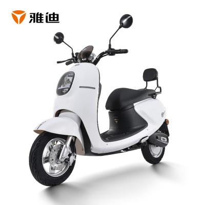 雅迪電動輕便摩托車 米迪 成人雙人男女龜王代步車 雪珠白