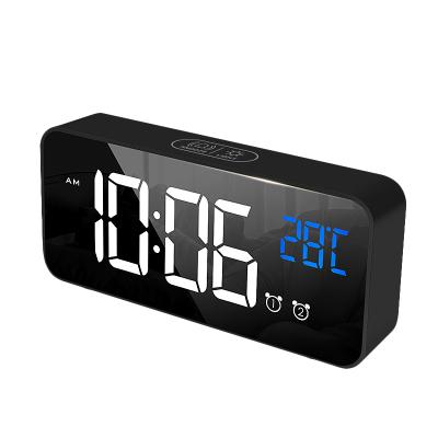 北極星(POLARIS)智能鋰電聲控音樂電子鬧鐘多功能客廳臥室時鐘LED鏡面學生創意時尚靜音家用鐘表懶人貪睡床頭鐘