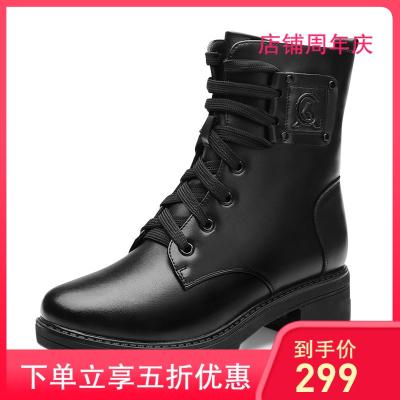 際華3515強人冬季新款馬丁靴女羊毛保暖女靴便捷側拉鏈時尚短靴