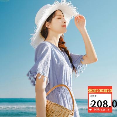 茵曼2020夏裝新款短袖連衣裙V領甜美流蘇收腰顯瘦蛋糕裙女【1802353】