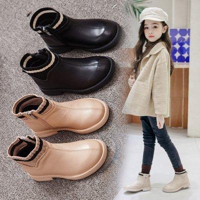 女童短靴皮鞋2019新款秋冬季靴子儿童鞋加绒棉鞋小女孩马丁靴冬款