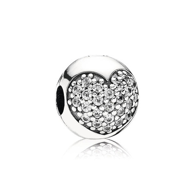 PANDORA潘多拉 心形密鑲 925銀 固定夾 女士-791053CZ