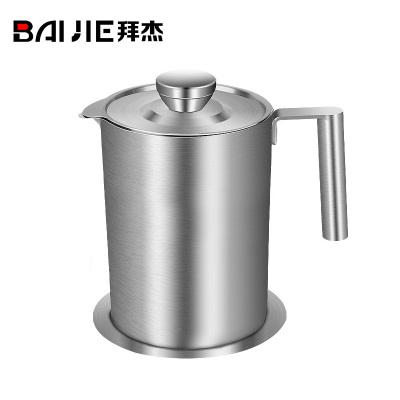 拜杰(Baijie)304不銹鋼過濾油壺隔油壺豬濾油器分離器油過濾油渣儲油罐大容量廚房家用防漏油瓶 1.8L304不銹鋼