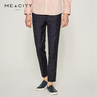 【3件1.5折价:89.4】MECITY男装格纹商务西裤商务绅士修身纯羊毛休闲长裤