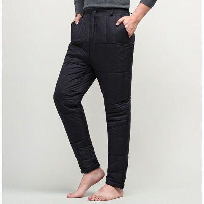 中老年羽絨褲男士高腰內外穿加厚大碼老人羽絨褲爸爸羽絨保暖長褲 神秘黑威珺