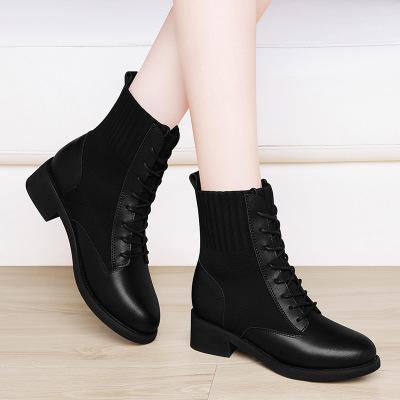 帝紫规冬季新款特色粗跟短靴橡胶大底二层牛皮马丁靴加绒短靴女士靴子休闲皮靴