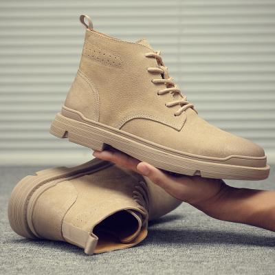 功夫鹿 冬季馬丁靴男靴子男工裝鞋高幫鞋男英倫真皮男鞋復古沙漠靴橡膠底大黃靴