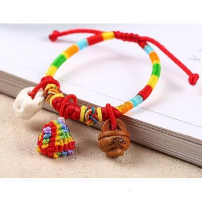 【精品好貨】端午節五彩繩寶寶小孩兒童手鏈粽子香包成人飾品編織手繩 邁詩蒙