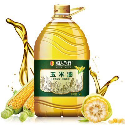 恒大兴安 非转基因玉米胚芽油 4L 物理压榨 油 食用油 桶装 口感清爽 健康食用油