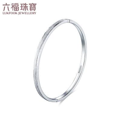 六福珠宝Pt950铂金手镯椭圆贵妃镯开口白金空心手镯计价L04TBPB0005