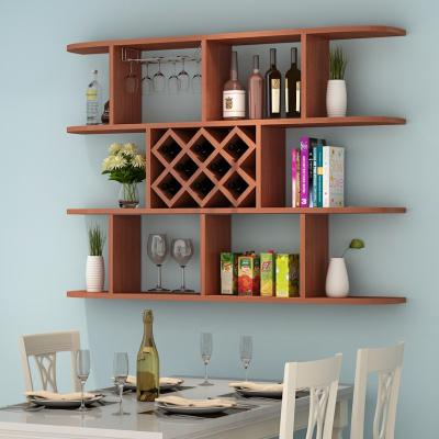 定制酒柜壁掛酒架吊柜餐廳墻上置物架簡約現代紅酒格子 三層柚木色1.4米(8格)