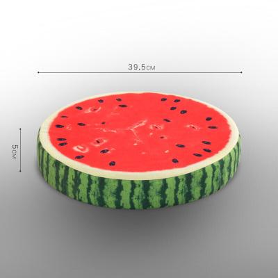 水果坐垫 加厚圆形大号布艺地板打坐日式阳台飘窗榻榻米坐垫 5公分厚西瓜 39.5X39.5cm