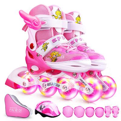 魅扣溜冰鞋兒童輪滑鞋全套裝男女旱冰鞋直排輪新初學者可調3-5-6-8-10歲