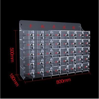 環杰亞克力透明手機存放保管柜簡易寄存柜帶鎖收納箱 40門