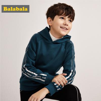 巴拉巴拉男童卫衣冬季中大童加绒儿童上衣童装保暖连帽衫时尚潮童