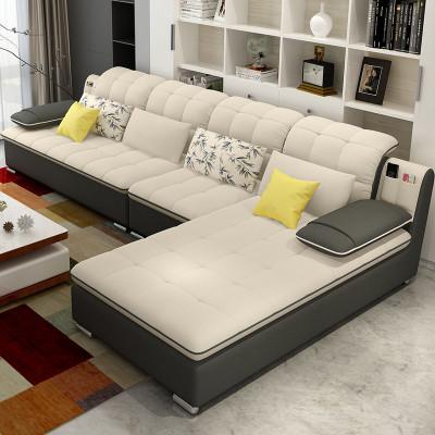 歐卡森新款布藝沙發 可拆洗大小戶型客廳簡約家居貴妃組合L型轉角布沙發
