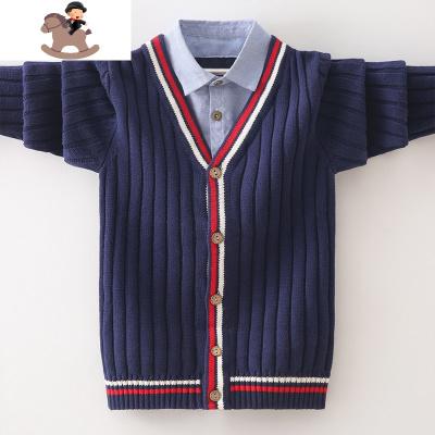 男童开衫外套红色针织衫毛衣中大童假两件衬衫领纯棉儿童学院春秋  YueBin
