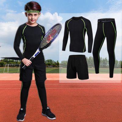 【品牌特卖】儿童运动紧身衣套装男女学生足球篮球训练服跑步健身打底衣裤加绒 POTRAVEL.DESIGN