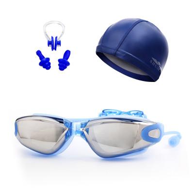 舒漫游泳帽+泳镜鼻夹耳塞游泳帽防水 男女护发大号PU游泳帽套餐