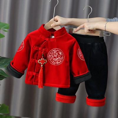 儿童唐装男童套装冬装中国风女宝宝汉服拜年服过年加绒加厚两件套 TCVV