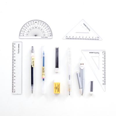 Narita/成田良品文具套裝無印風中性筆橡皮尺子圓規涂卡鉛筆組合 考試12件套裝