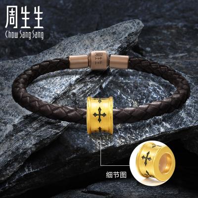 周生生(CHOW SANG SANG)Charme 黃金手鏈信念XL足金串珠86640C定價
