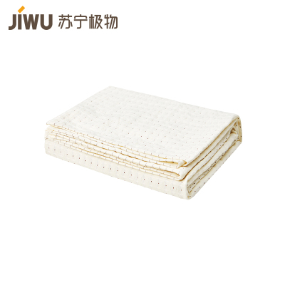 蘇寧極物 長絨棉色織華夫格純色蓋毯