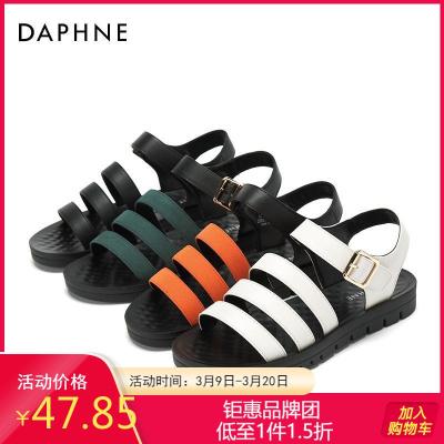 Daphne/達芙妮專柜正品女鞋 夏季平底低跟純色休閑舒適涼鞋