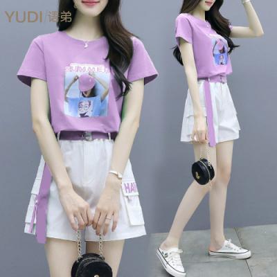 YUDI語弟套裝女夏2020年新款小個子氣質洋氣減齡時尚小香風闊腿短褲兩件套