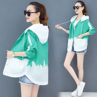 洋氣防曬服女士2020夏季新款寬松防紫外線工裝風衣開衫連帽短外套 莎丞 莎丞(SHACHEN)