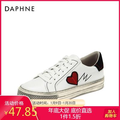 Daphne/达芙妮复古刺绣小脏鞋时尚印花简约街头板鞋女1018404058