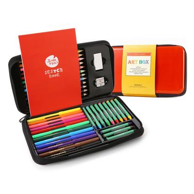 Joan Miro 美樂 兒童繪畫套裝畫筆套裝文具禮盒蠟筆水彩筆套裝兒童禮品禮物 紅色文具禮盒
