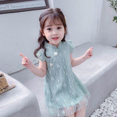 欣鴻茗女童2020夏短袖連衣裙漢服韓版公主裙古箏蕾絲裙中國風寶寶演出服