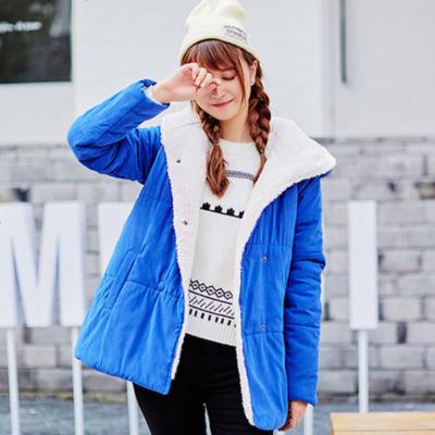 【2件1折價52.9元】唐獅冬裝棉衣女連帽保暖加厚女中長棉襖凈色外套仿羊羔絨學生韓版