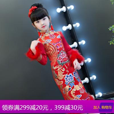 女童冬季唐装中国风长袖儿童旗袍红色加厚拜年服宝宝女新年装加绒