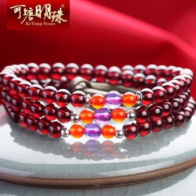可塘明珠 女士手鏈石榴石多圈手串佛珠送女友老婆生日禮物5A級天然紅石榴石水晶
