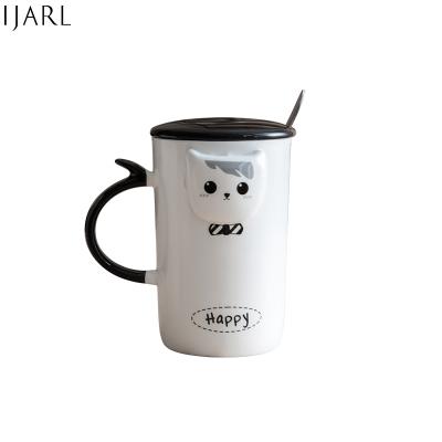 億嘉瓷魂系列簡約創意陶瓷杯可愛立體帶蓋帶勺水杯馬克杯牛奶咖啡杯子理想貓情侶系列