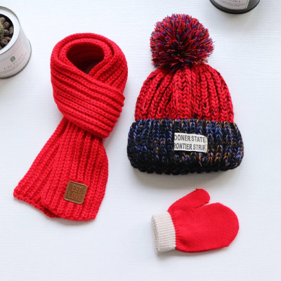 谜局(MIJU)秋冬儿童帽子围巾手套宝宝加绒保暖帽子童女童针织帽三件套