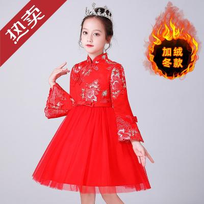 迪士尼官方儿童旗袍秋冬2019新款中国风唐装洋气女童拜年服红色公主裙子加绒小孩子的