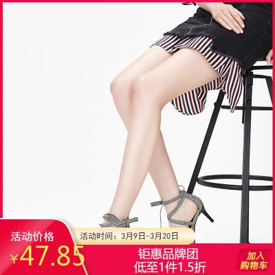 Daphne/達芙妮專柜正品 夏季交叉系帶高跟鞋千鳥格英倫時尚涼鞋女