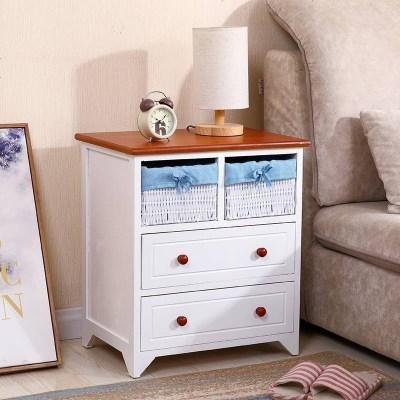 简易抽屉式多层夹缝收纳柜实木多层储物小柜子卧室床头边角置物柜