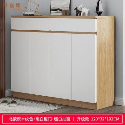 羅森朗 鞋柜家用門口大容量實木色簡約玄關柜陽臺多層儲物柜簡易收納鞋架