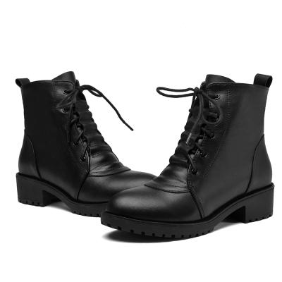 實得199【雅夢纖足】頭層牛皮 短靴女真皮馬丁靴單靴切爾西短靴子女平底短靴女