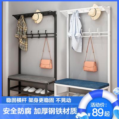 換鞋凳掛衣架一體落地晾衣架家用進門口衣帽架小玄關可坐穿鞋柜軟包坐墊鞋架