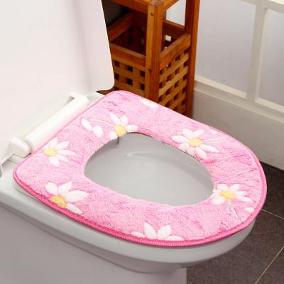 歐潤哲 馬桶墊 單個裝法蘭絨保暖太陽花紋款 家用馬桶套坐便套馬桶座圈坐墊墊子