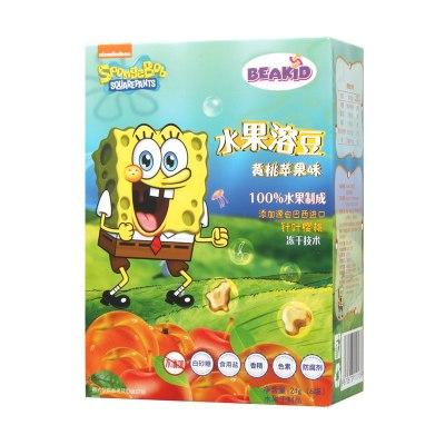 beakid 美国海绵宝宝纯水果溶豆水果脆片黄桃苹果味24g-盒装 零食点心