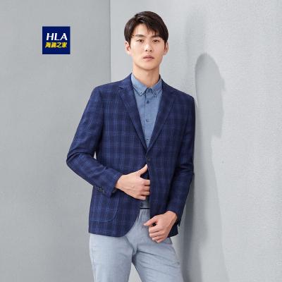 HLA海瀾之家男裝經典格紋款休閑西服修身單西外套男HWXAD1R017A