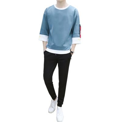 墨爾斯特(MO ER SI TE)2020夏季新款七分袖半袖T恤套裝韓版長褲男士圓領短袖套裝830