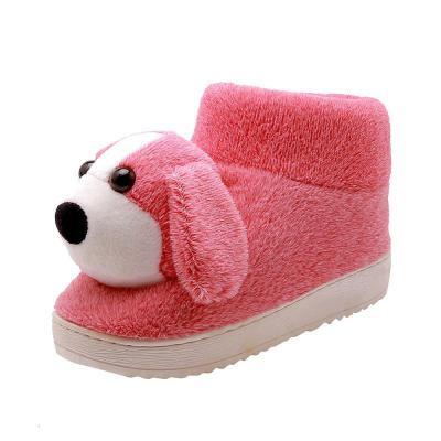 冬季棉拖鞋女包跟孕妇月子防滑保暖情侣款加厚底卡通狗狗学生棉鞋