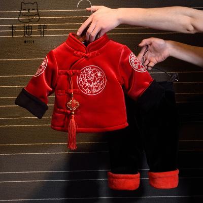 【品质优选】儿童汉服男童拜年服宝宝童装女童唐装婴儿中国风秋冬加绒加厚套装猫太子